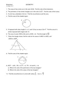 Similar Triangles and Trapezoids, and Circles Worksheet