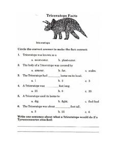 Triceratops Facts Worksheet