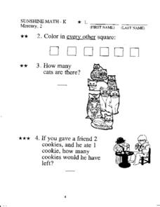 Sunshine Math -K Worksheet