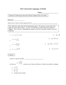 The Universal Language of Math Worksheet