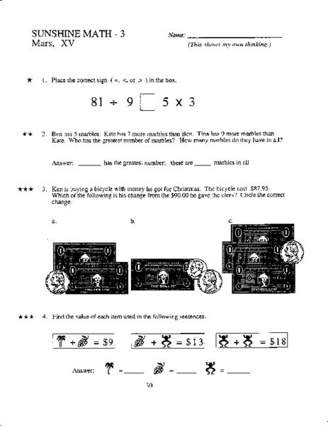 math worksheet : sunshine math  3 mars xv 4th  5th grade worksheet  lesson pla  : Sunshine Math Worksheets