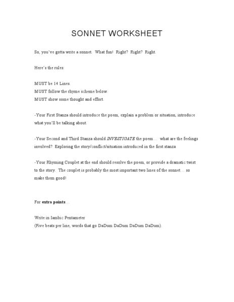 Sonnet Worksheet Worksheet for 7th - 8th Grade   Lesson Planet