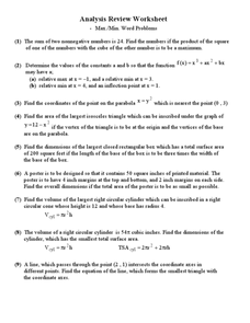 Maximum and Minimum Word Problems Worksheet