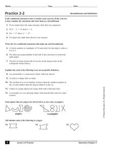 Practice 2-2: Biconditionals and Definitions Worksheet