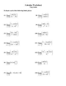 calculus worksheet trig limits worksheet for 10th 12th grade lesson planet. Black Bedroom Furniture Sets. Home Design Ideas