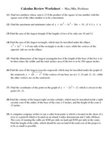 Maximum and Minimum Problems Worksheet
