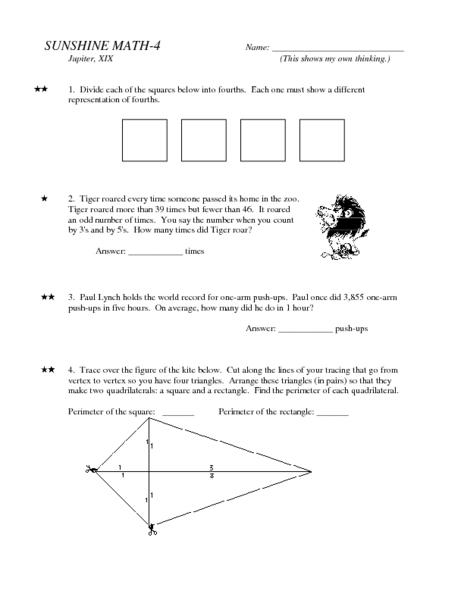 math worksheet : tiger math lesson plans  worksheets reviewed by teachers : Sunshine Math Worksheets