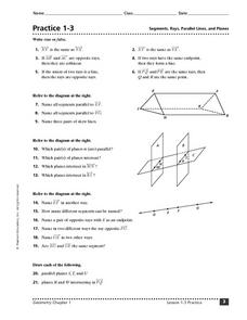 Practice 1-3: Segments, Rays, Parallel Lines, and Planes Worksheet