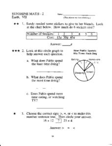 Sunshine Math- 2  Earth, VII Worksheet