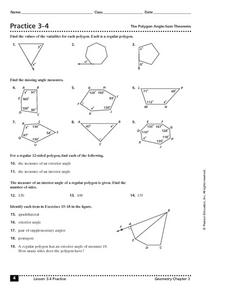 Practice 3 4 The Polygon Angle Sum Theorem Worksheet For 10th 11th Grade Lesson Planet