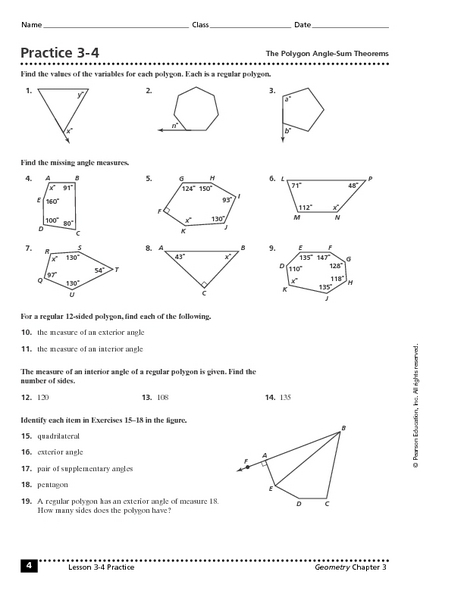 Practice 3 4 the polygon angle sum theorem worksheet for 10th 11th grade lesson planet for Interior exterior angles worksheet