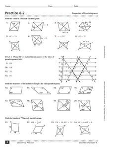 Practice 6-2: Properties of Parallelograms Worksheet