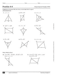 Practice 4-4: Using Congruent Triangles Worksheet