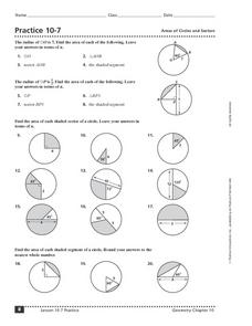 Practice 10-7 Areas of Circles and Sectors Worksheet