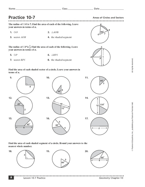 Practice 10-7 Areas of Circles and Sectors Worksheet for ...