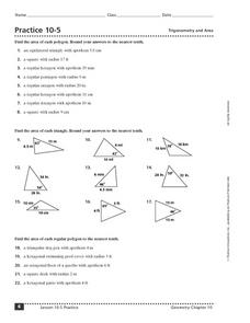 Practice 10-5: Trigonometry and Area Worksheet
