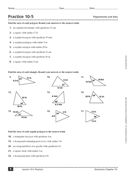 Practice 10 5 Trigonometry And Area Worksheet For 9th