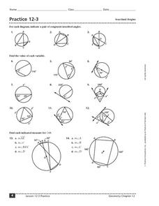 Practice 12-3: Inscribed Angles 10th - 12th Grade Worksheet ...
