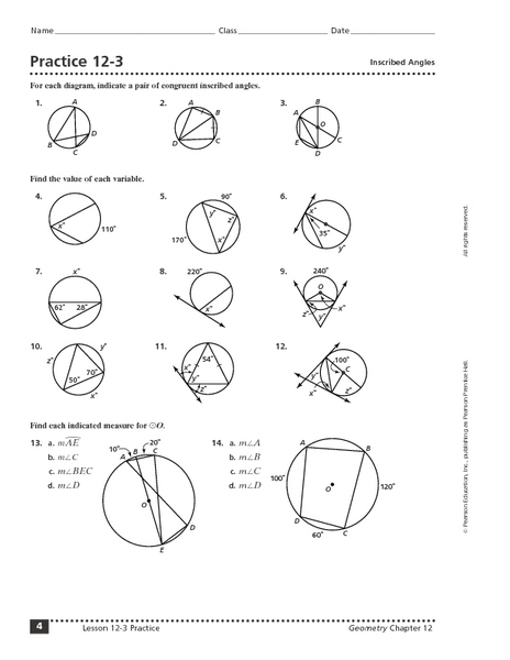 Practice 12 3 Inscribed Angles Worksheet For 10th 12th