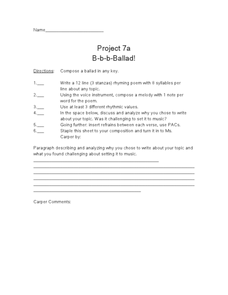 Project 7a B-b-b-Ballad! Worksheet
