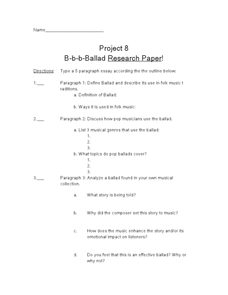 Project 8 B-b-b-Ballad Research Paper! Worksheet