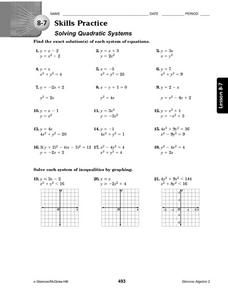 8-7 Skills Practice: Solving Quadratic Systems Worksheet