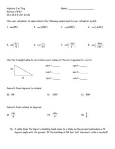 Review 13.1-13.2: Unit Circle Worksheet