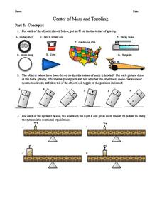 Center of Mass and Toppling Worksheet