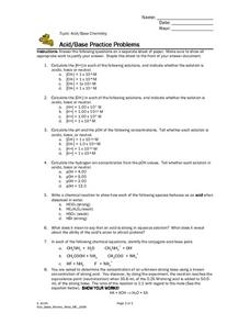 Acid/Base Practice Problems Worksheet