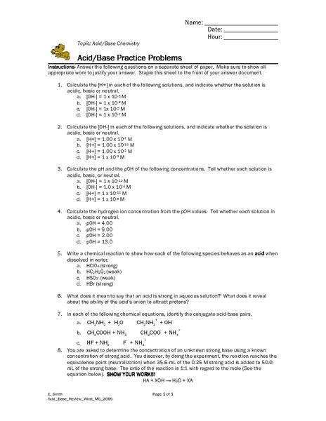 Acid Base Practice Problems Worksheet For 9th 10th Grade