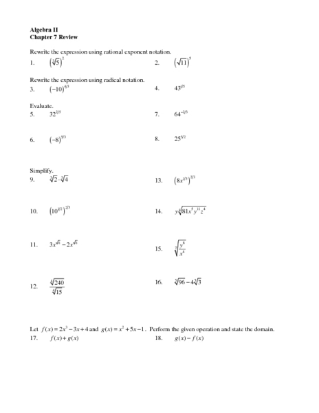 chapter 7 review  radical notation worksheet for 10th