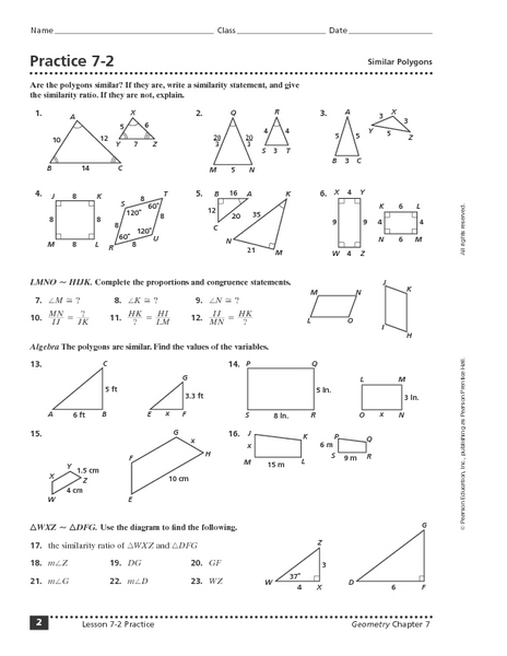 Practice 7 2 Similar Polygons Worksheet For 10th 12th