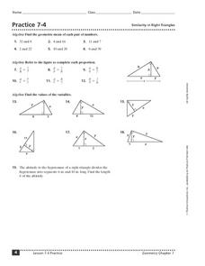 Practice 7-4: Similarity in Right Triangles Worksheet