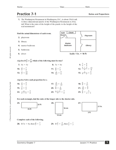 Practice 7-1: Ratios and Proportions Worksheet for 10th ...