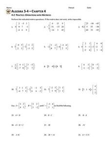 4-2 Practice: Operations with Matrices Worksheet
