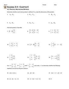 4 3 practice multiplying matrices worksheet for 10th 12th grade lesson planet. Black Bedroom Furniture Sets. Home Design Ideas