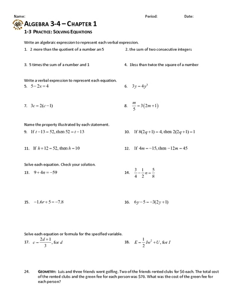 1-3 Practice: Solving Equations Worksheet for 9th - 11th