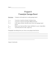 Project 9 Freestyle Garage Band Worksheet