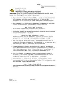 Thermochemistry Practice Problems Worksheet