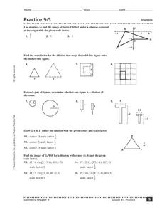 Practice 9-5:  Dilations Worksheet