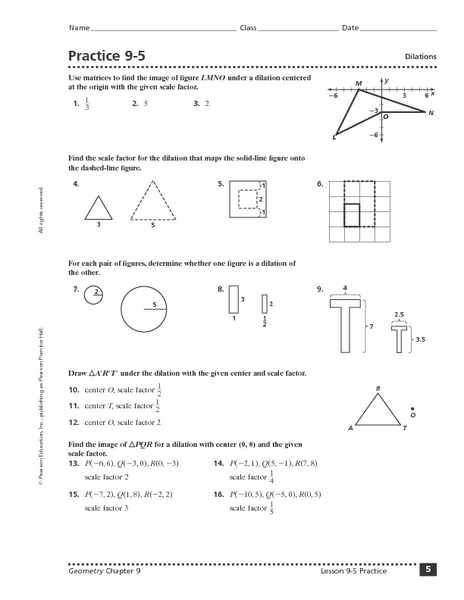 Practice 9 5 Dilations Worksheet