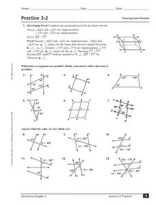 Practice 3-2: Proving Lines Parallel 10th - 12th Grade Worksheet ...