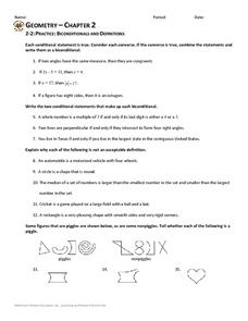 Biconditionals and Definitions Worksheet