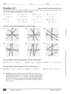 Practice 3-7:  Slopes of Parallel and Perpendicular Lines Worksheet