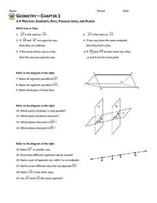 1-4 Practice: Segments, Rays, Parallel Lines, and Planes Worksheet