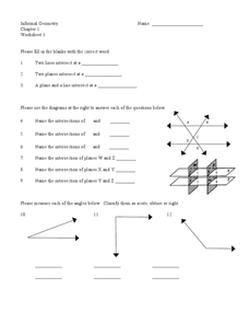 Intersecting Planes Worksheet