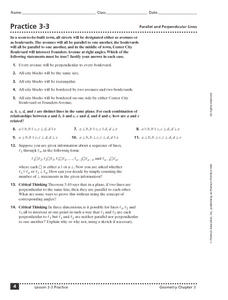 Practice 3-3: Parallel and Perpendicular Lines Worksheet