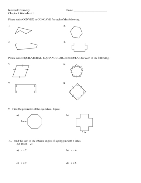 Chapter 8 Worksheet 1: Polygons & Angles Worksheet for