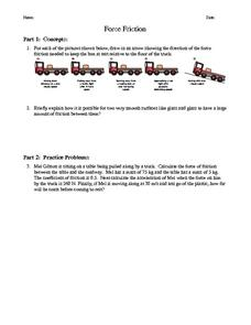 Force Friction Worksheet
