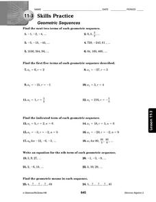11-3 Skills Practice: Geometric Sequences Worksheet for 10th - 12th ...